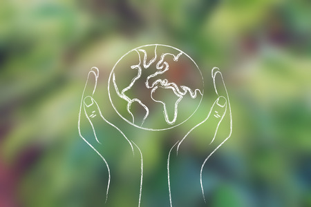 illustration of hands holding planet earth on blurred leaves background Stock Photo