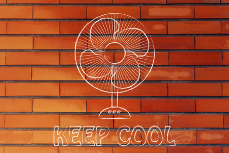 keep cool: electric fan design abot fighting the summer heat waves Stock Photo
