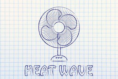 heat waves: summer heat waves: keep cool electric fan design Stock Photo