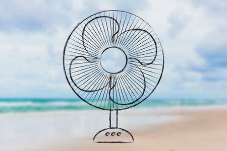 electric fan: summer heat waves: keep cool electric fan design Stock Photo