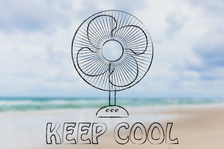 illustration cool: summer heat waves: keep cool electric fan design Stock Photo