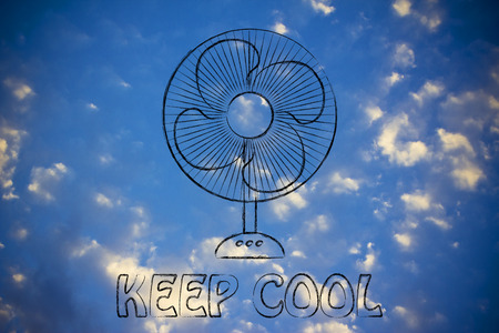 electric fan: keep cool: electric fan design abot fighting the summer heat waves Stock Photo