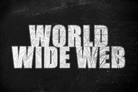 the word World Wide Web with metallic net overlay Stock Photo