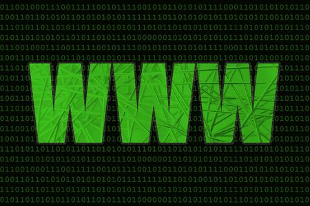 overlay: WWW with metallic net overlay Stock Photo