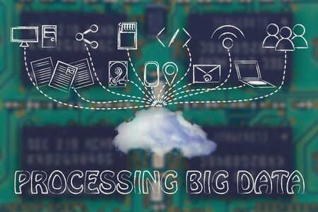 geotag: technology devices uploading and downloading data to a cloud, processing big data Stock Photo