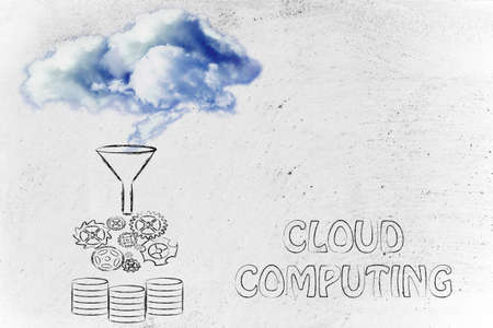 geotag: real clouds being processed into servers, concept of cloud computing
