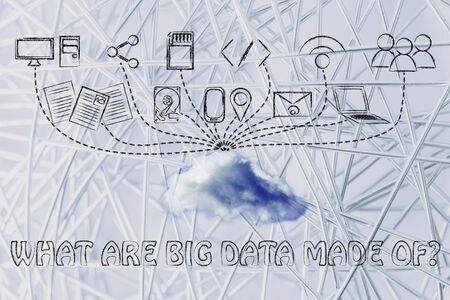 geotag: technology devices uploading and downloading data to a cloud, what are big data made of? Stock Photo