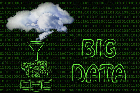 processed: real clouds being processed into servers, concept of storing big data
