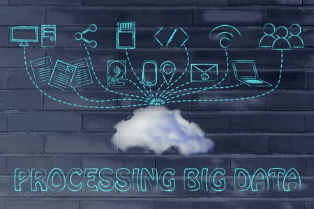 uploading: technology devices uploading and downloading data to a cloud, processing big data Stock Photo