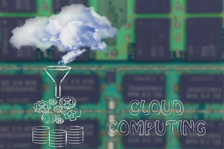 processed: real clouds being processed into servers, concept of cloud computing