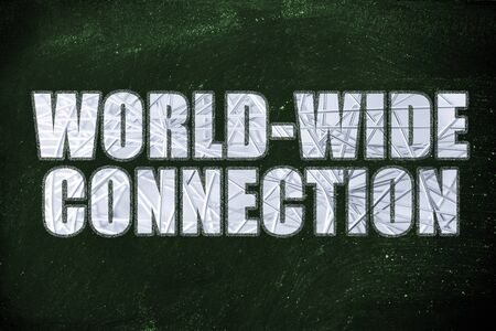 the word World-wide connection with metallic net overlay Stock Photo