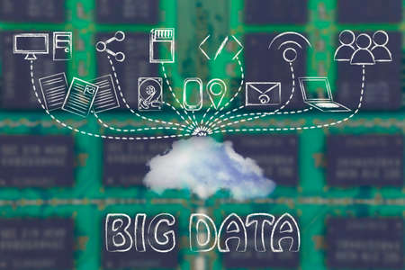 uploading: big data: technology devices uploading and downloading data to a cloud