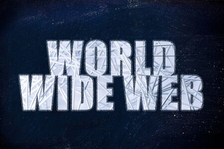 worldwide web: la palabra World Wide Web con superposici�n de red met�lica