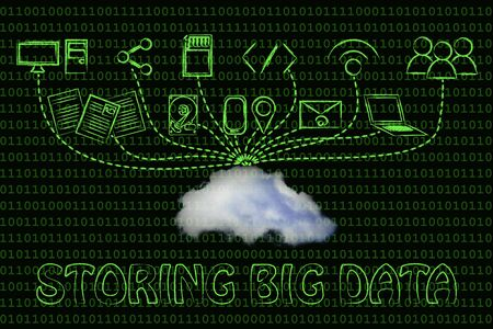 storing: technology devices uploading and downloading data to a cloud, storing big data Stock Photo
