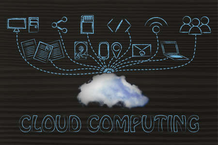 uploading: technology devices uploading and downloading data to a cloud, concept of cloud computing