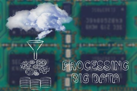 processed: real clouds being processed into servers, processing big data