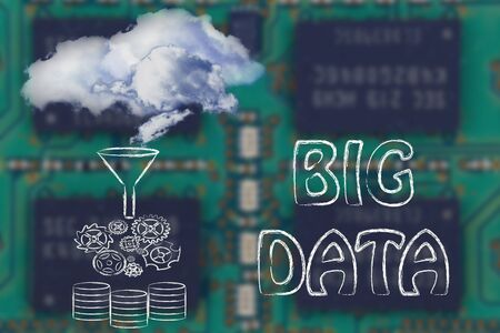 storing: real clouds being processed into servers, concept of storing big data