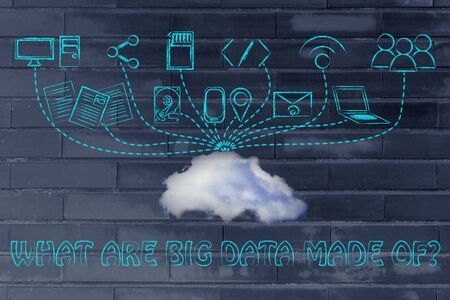 uploading: technology devices uploading and downloading data to a cloud, what are big data made of? Stock Photo