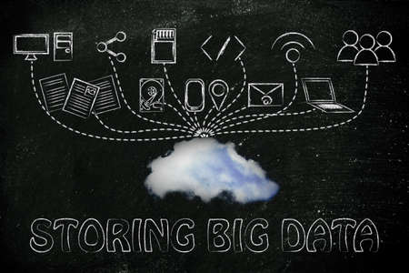 uploading: technology devices uploading and downloading data to a cloud, storing big data Stock Photo
