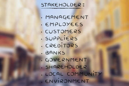 who are the business stakeholders, list of the main people who have an interest in a companys future