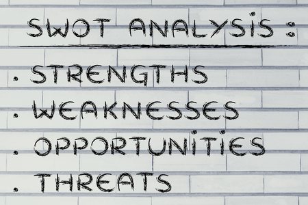 weaknesses: list of the elements of the SWOT analysis: Strenghts, Weaknesses, Opportunities Threats