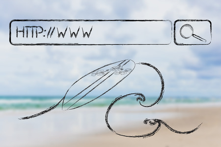 adress: surfing the web, search bar with WWW web adress and surf illustration on wave