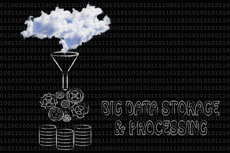 stored: big data storage & processing: illustration with real clouds being processed and stored into servers