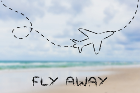 holidays and travel: airplane with writing Fly Away and blurred beach background