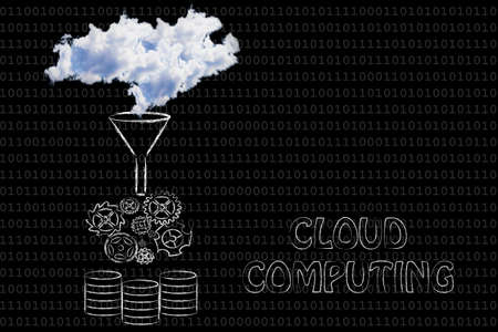 stored: concept of cloud computing: illustration with real clouds being processed and stored into servers