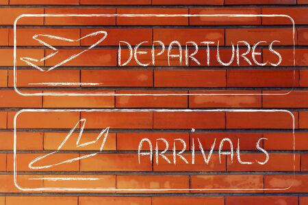 departures: airport style signs indicating departures and arrivals