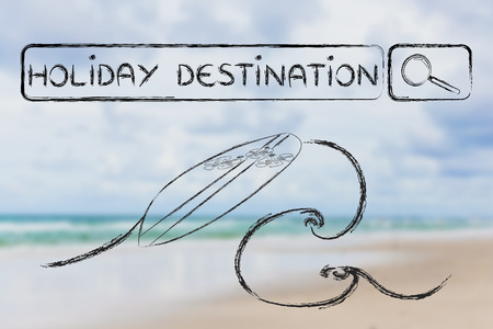search bar: holiday destinations, surfboard and search bar on beach background