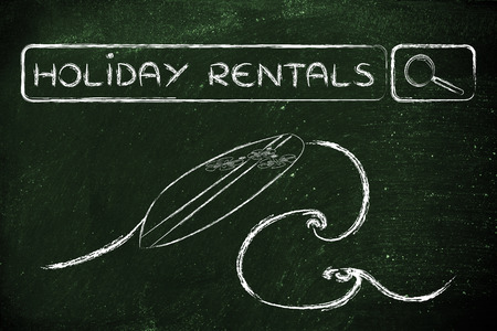 search bar: booking holiday rentals online, surfboard and search bar