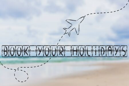 departure board: holiday and travel industry: departure board with writing Book your Holidays, with airplane flying Stock Photo