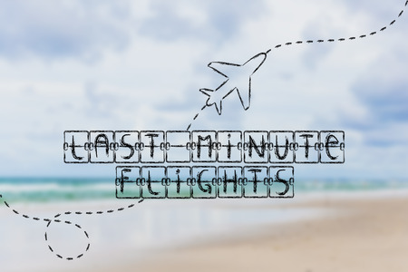 departure board: holiday and travel industry: departure board with writing Last Minute Flights, with airplane flying