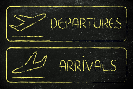 arrivals: airport style signs indicating departures and arrivals