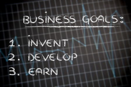 earn: list of business goals on stats background:invent, develop, earn Stock Photo