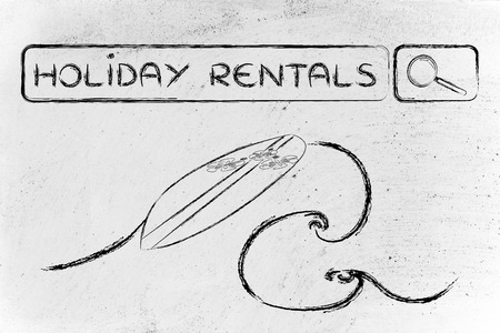 rentals: booking holiday rentals online, surfboard and search bar