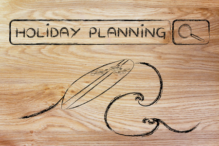 search bar: holiday planning, surfboard and search bar