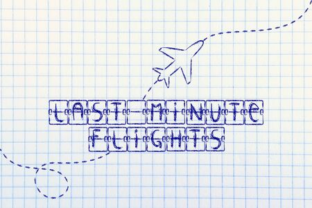 travel industry: holiday and travel industry: departure board with writing Last Minute Flights, with airplane flying