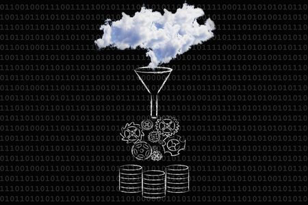 stored: concept of big data: illustration with real clouds being processed and stored into servers