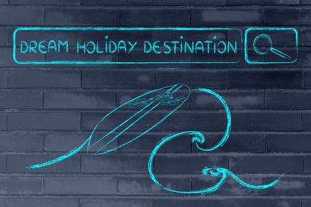 search bar: searching the web dream holiday desinations, surfboard and search bar