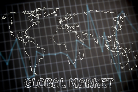customer records: concept of businesses going global: world map on financial statistics graph background