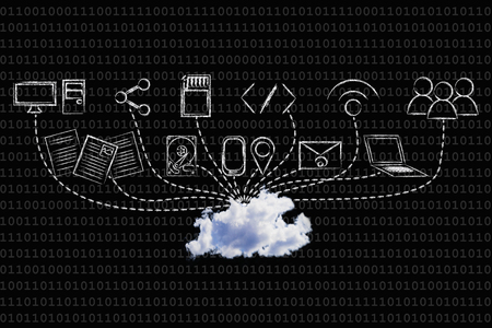 concept of big data and cloud computing: real cloud devices uploading data Banco de Imagens