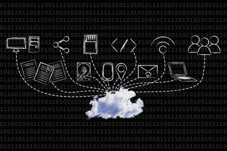concept van big data en cloud computing: echte cloud-apparaten die gegevens uploaden
