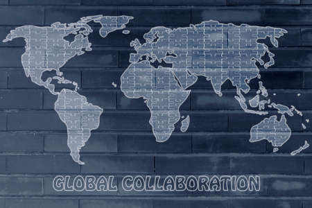 pieces of jigsaw puzzle composing the map of the world, concept of global collaborations