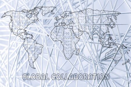 collaborations: pieces of jigsaw puzzle composing the map of the world, concept of global collaborations