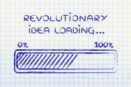 coming up with: concept of coming up with a revolutionary idea, funny progress bar illustration