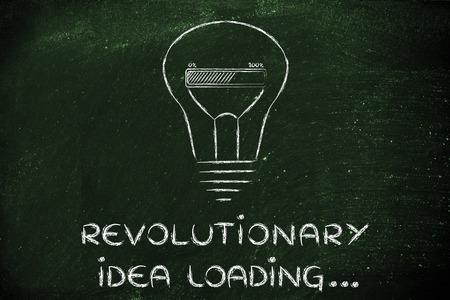 business innovation: concept of developing a revolutionary idea, funny lightbulb illustration