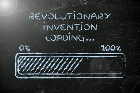 revolutionary: concept of developing a revolutionary invention, funny progress bar illustration Stock Photo