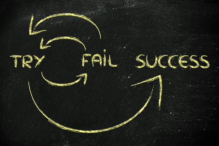 cycle to reach success: try, fail, try again, success 스톡 콘텐츠